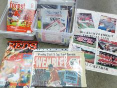 A collection of Nottingham Forest football programmes, a calendar and ticket stubs, 1980's onwards