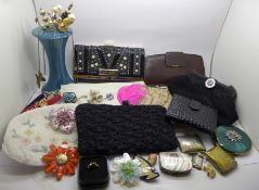 A collection of lady's purses, evening bags, hat pins, hat pin stand, compacts, etc.