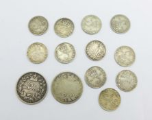 A collection of pre 1920 silver coins, two Victorian shillings, 1870, worn, and 1871, 3d coins