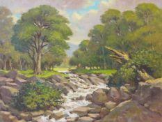 John Hall, Impressionist river landscape, oil on board, 46 x 61cms, unframed