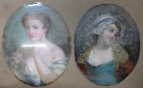 English School (19th Century), pair of oval portraits of girls, oil on canvas laid on glass, 45 x