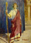 Attributed to Franz Roubaud (Russian 1856-1928), portrait of a Roman figure, oil on board, 21 x