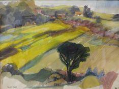 Pamela Guille, rural country landscape, watercolour, 37 x 49cms, framed