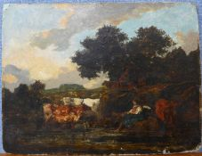 Manner of John Constable, landscape with girl and cattle by a river, oil on board, 27 x 35cms,