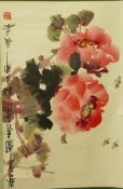 A Chinese scroll, still life of flowers, watercolour, 157 x 52cms