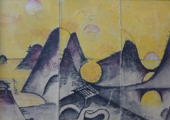 French Modernist School, Japanese triptych landscape, watercolour, 17 x 24cms, framed, Galerie d'