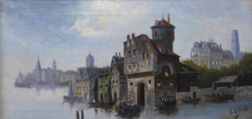 Fr. Gilberts (Flemish 19th Century), coastal town with figures in boats, oil on canvas, 25 x