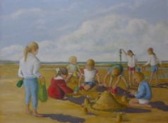 D. Livesey, children playing on a beach, oil on board, 45 x 60cms, framed