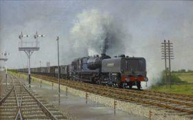Warwick Richardson, steam locomotive, oil on canvas, 34 x 54cms, framed