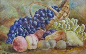 M.L. Cass, pair of still life's of fruit, watercolour, 27 x 42cms, framed