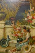 A 19th Century scene with gypsy girls and flowers, oil on canvas, 67 x 44cms, framed