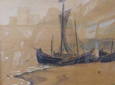 Hubert Coop, coastal landscape, watercolour, 37 x 50, framed
