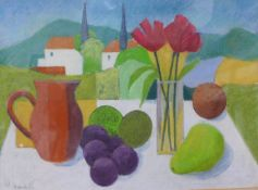 Michael Haswell, still life of fruit and flowers, mixed media, 26 x 37cms, framed