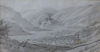 Walter John Trower (Bishop of Gibraltar 1805-1877), landscape, watercolour and wash, 10 x 19cms,