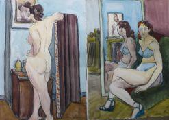 Jenine Marca (French Impressionist School 1921-2013), two erotic female nudes, watercolour ,38 x