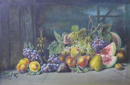 P. Alt., still life of fruit, oil on canvas, 68 x 103cms, framed