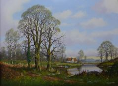 Vincent Selby (1919-2004), rural landscape with figures by a river, oil on canvas, 45 x 60cms,