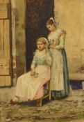 English School (19th Century), portrait of two girls, watercolour, mongrammed bottom right, 29 x