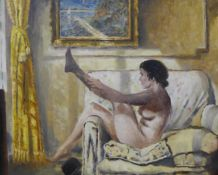 O.R. Penchell, portrait of a female nude, oil on canvas, 44 x 55cms, framed