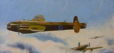 John Pooler, Lancaster Bomber, oil on board, 38 x 75cms, framed
