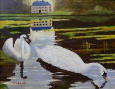 George Elliott, Swans on a Lake, oil on board, dated 1926, 30 x 39cms, framed