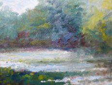 French Impressionist School, river landscape, oil on board, 18 x 24cms, framed