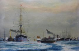 P. Whittock, shipping lanes, oil on canvas, 49 x75cms, framed