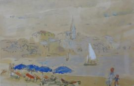 French Impressionist School, beach scene, watercolour, 15 x 23cms, framed