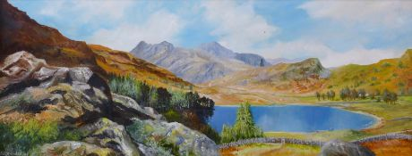 S.R. Knowles, The Langdale Pikes, From Above Blea Tarn, Cumbria, oil on board, 28 x 74cms, framed