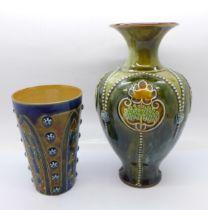 A Royal Doulton stoneware vase, 3425A mark and a Doulton Lambeth beaker, 1877 mark
