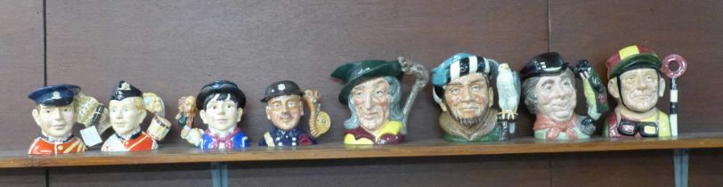 Four Royal Doulton character jugs, Fife Player, Fireman, North Staffordshire Drummer Boy and