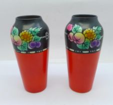 A pair of Shelley vases, 13cm