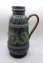 A Doulton Lambeth stoneware jug, 1877 mark, chip to rim and base, 24.5cm