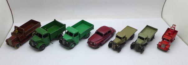 Seven Dinky Toys die-cast model vehicles