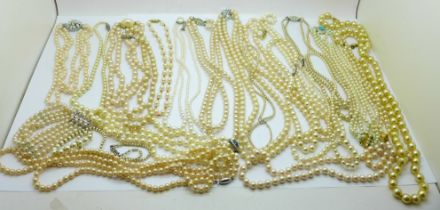 A collection of faux pearl necklaces