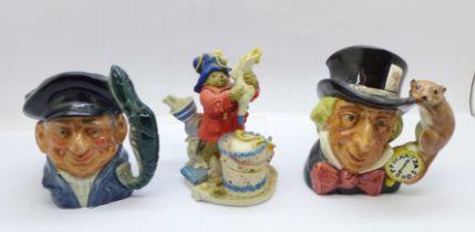 Two small Royal Doulton character jugs and a Royal Doulton Paddington figure