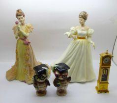 Novelty owl salt and pepper pots, a/f, a Royal Doulton figure, Kathleen, a Coalport figure and a