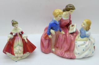 Two Royal Doulton figures; The Bedtime Story HN2059 and Southern Belle HN3174
