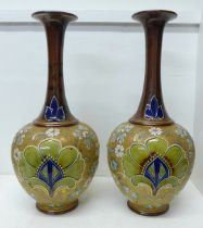 A pair of Royal Doulton Slater's Patent stoneware vases with long flared necks, 40cm