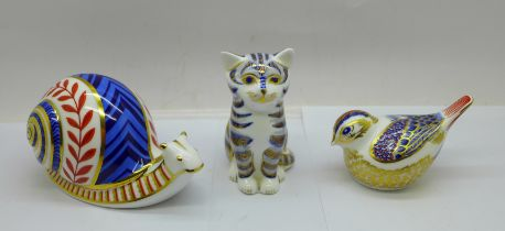 Three Royal Crown Derby paperweights, Snail, Cat with silver stopper and a Goldcrest with gold