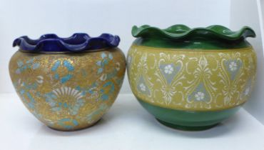 A Lovatt Langley Ware jardiniere and a Royal Doulton Slater's Patent jardiniere