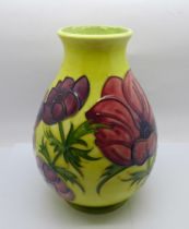 A Moorcroft Anemone vase on a yellow ground, 19.5cm