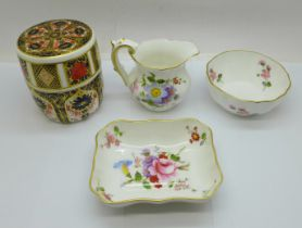 A Royal Crown Derby 1128 Imari table lighter and three items of Derby Posies