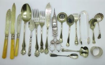 A pair of plated candle snuffers, servers and other flatware