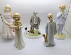 Five Royal Worcester figures with certificates of authenticity; I Dream, Can I Come Too...., I