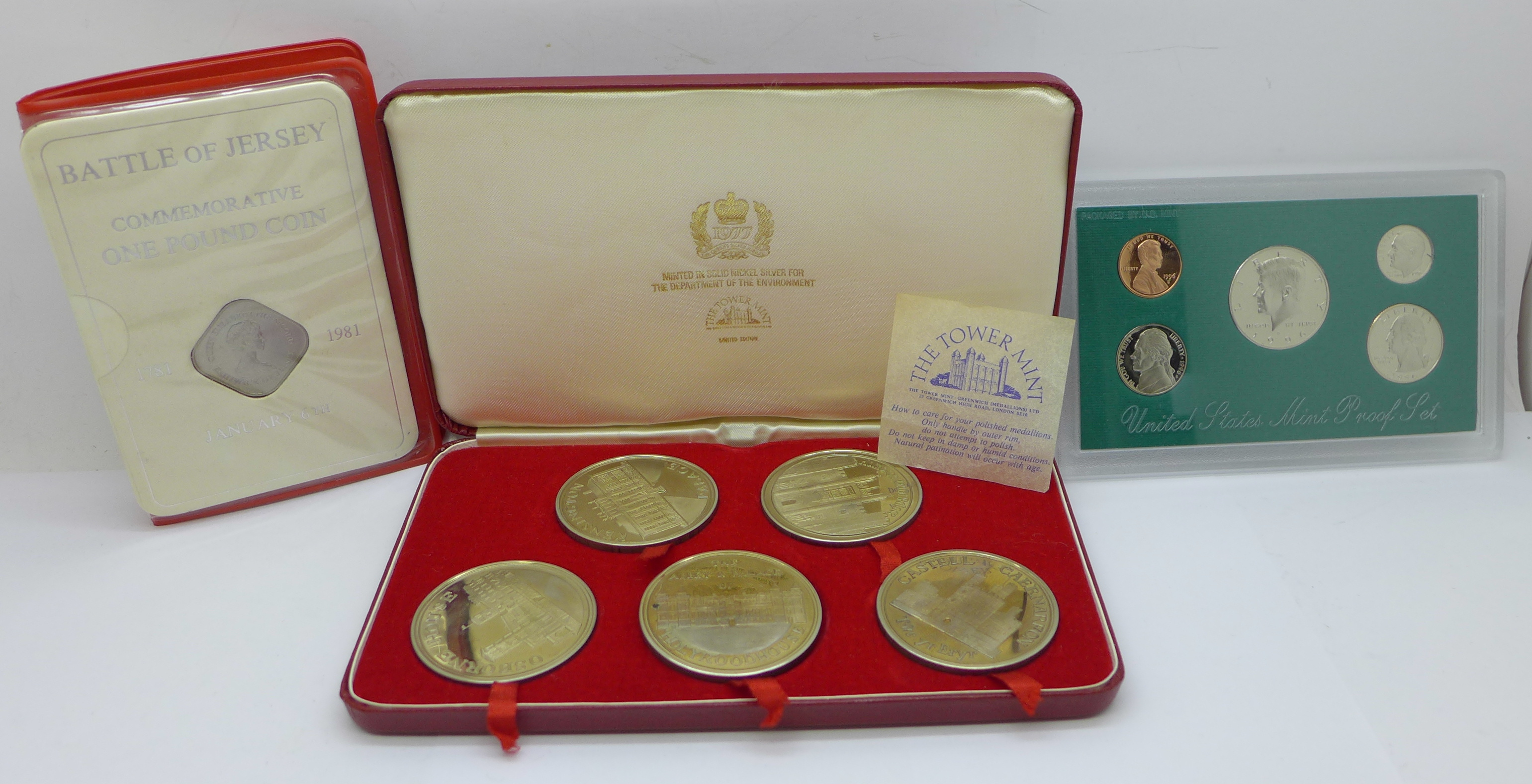 A Tower Mint limited edition nickel silver 5-coin set, cased, a 1996 United States mint proof set,