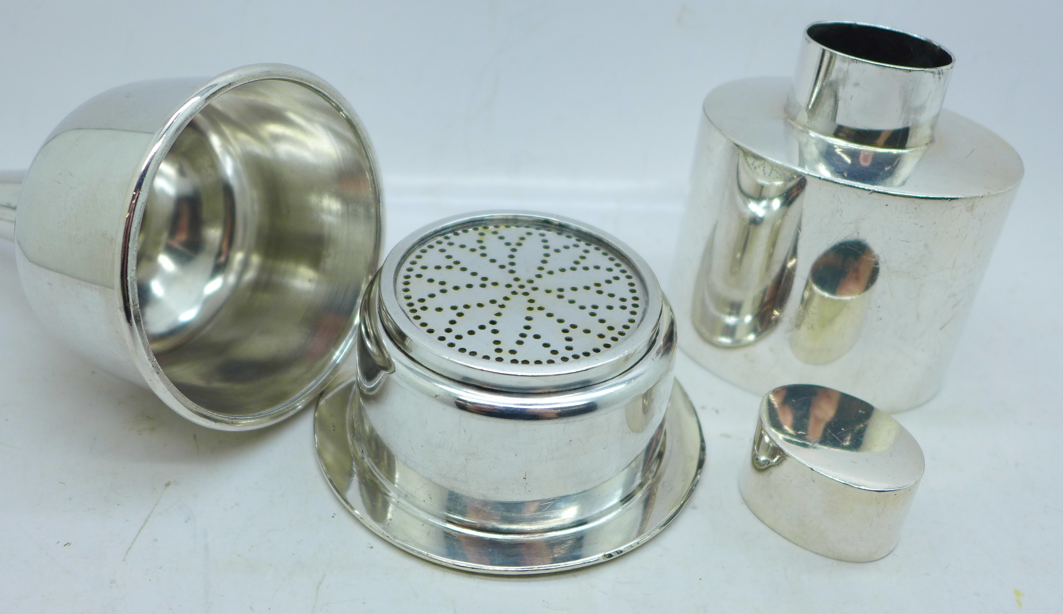 A wine funnel and plated tea caddy - Image 2 of 3