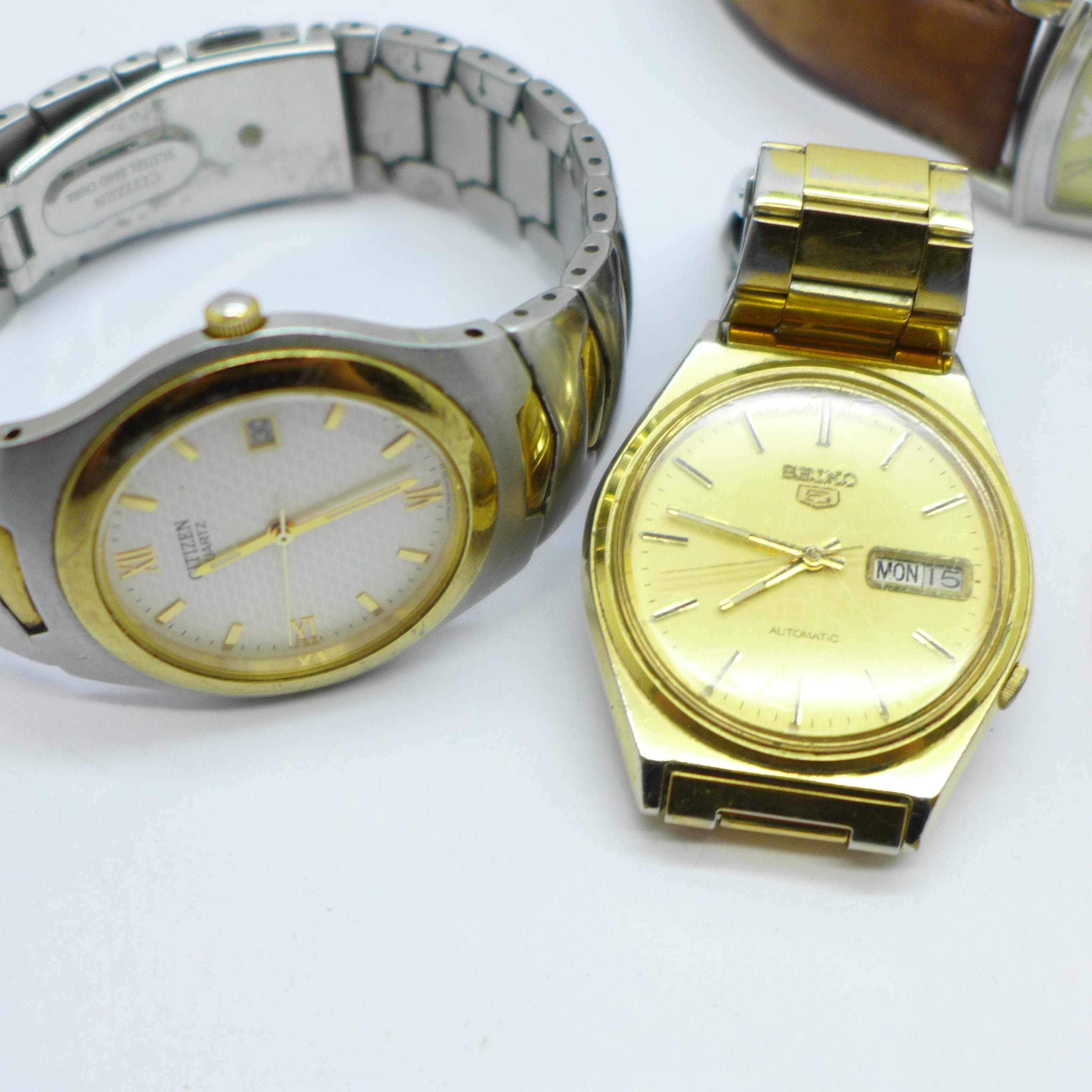 A collection of watches and a pocket watch including Seiko, Avia, Citizen, Emporio Armani and Smiths - Image 4 of 5