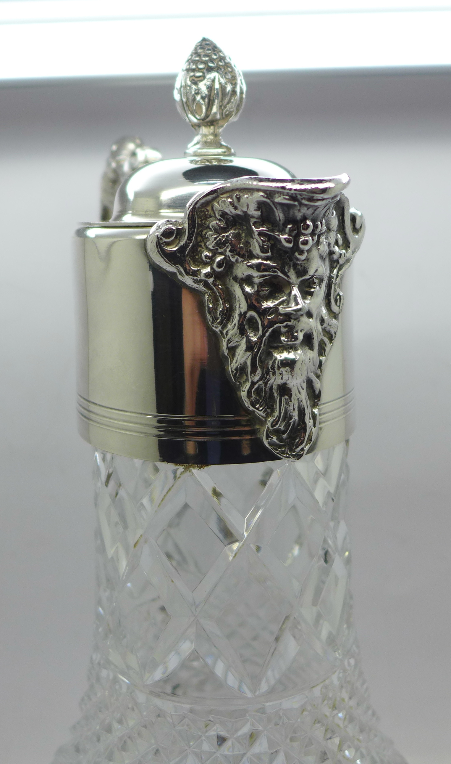 A white metal mounted glass claret jug, marked 999 on the handle and lid - Image 2 of 6