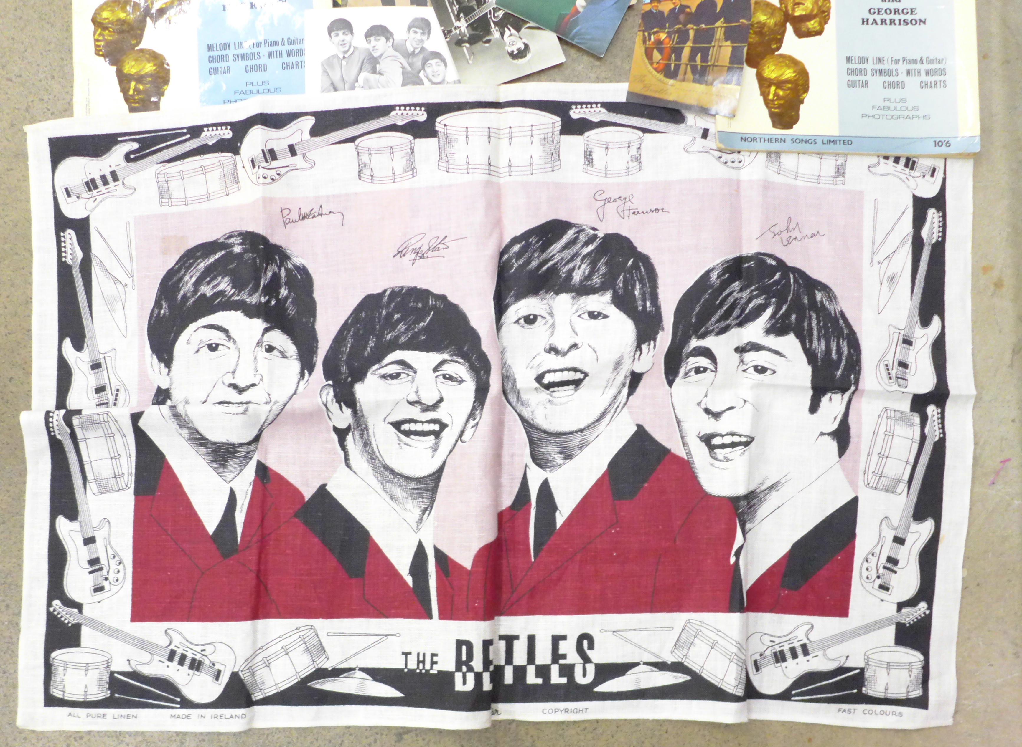Beatles memorabilia including tea towel, postcards, promotional photograph, EasyPlay Hits songbooks, - Image 4 of 4